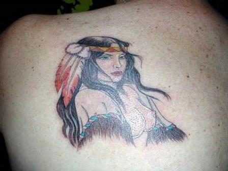 Gorgeous Native American Tattoo On Back Shoulder