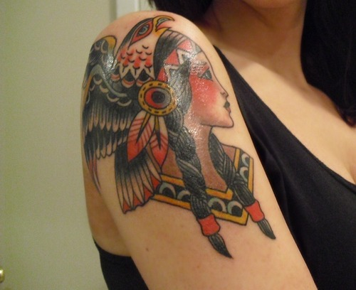 Gorgeous Native American Tattoo On Shoulder
