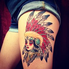 Gorgeous Native American Tattoo On Thigh