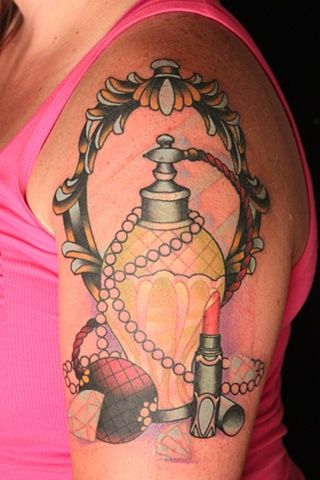 Gorgeous Perfume Bottle And Lipstick Tattoos On Biceps