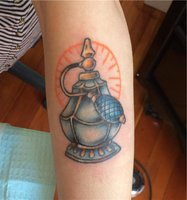 Gorgeous Perfume Bottle Tattoo On Arm