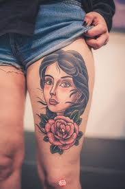 Gorgeous Portrait Tattoo On Thigh