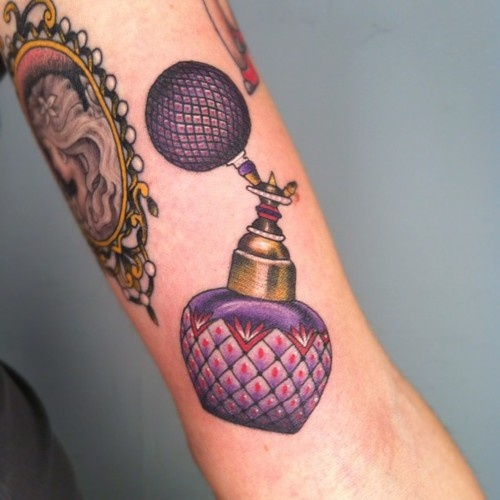Gorgeous Purple Perfume Bottle Tattoo