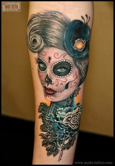 Gorgeous Queen Sugar Skull Tattoo