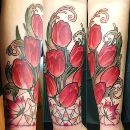 Gorgeous Red Tulips Tattoos On Forearm