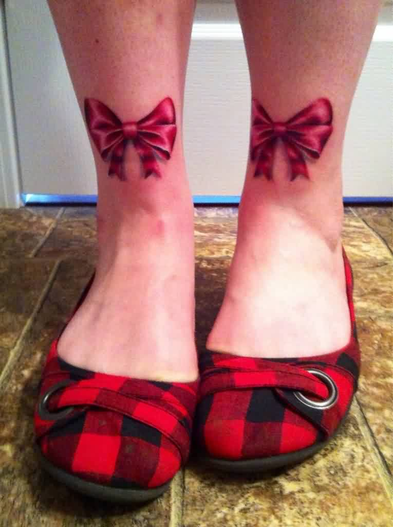Gorgeous Ribbon Bow Tattoos On Legs