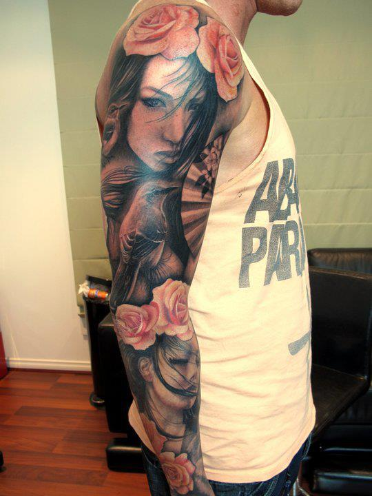 Gorgeous Roses And Female Portrait Tattoos On Sleeve