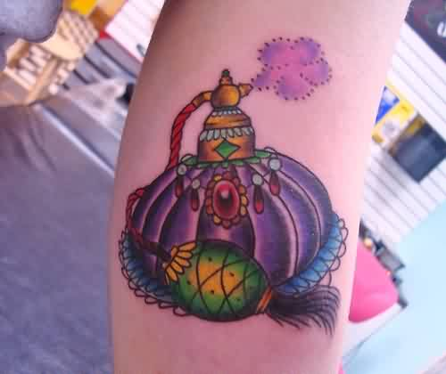 Gorgeous Ruby Perfume Bottle Tattoo