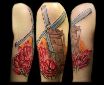 Gorgeous Tulips And Wind Fan Tattoos
