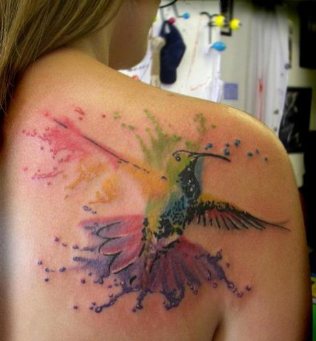 Gorgeous Watercolor Bird Tattoo On Back Of Shoulder