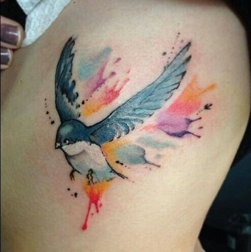 Gorgeous Watercolor Bird Tattoo