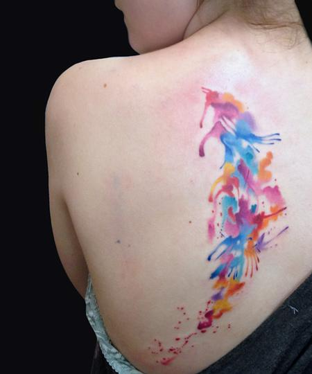 Gorgeous Watercolor Tattoo On Back Of Shoulder
