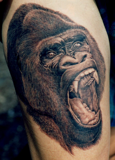 Gorilla Screaming Face Tattoo
