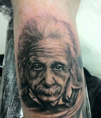 Great Albert Einstein Portrait Tattoo