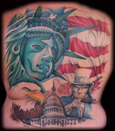 Great American Tattoos On Backbody