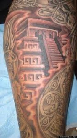 Great Aztec Pyramids Tattoo