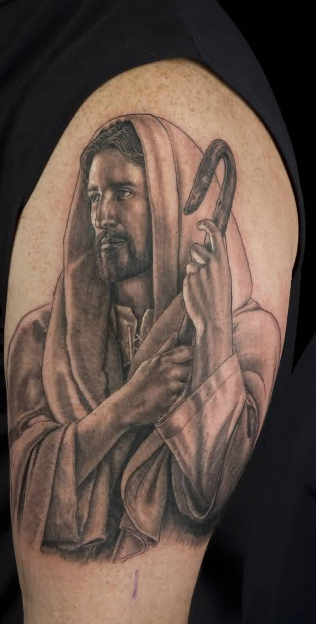 Great Christian God Portrait Tattoo On Biceps