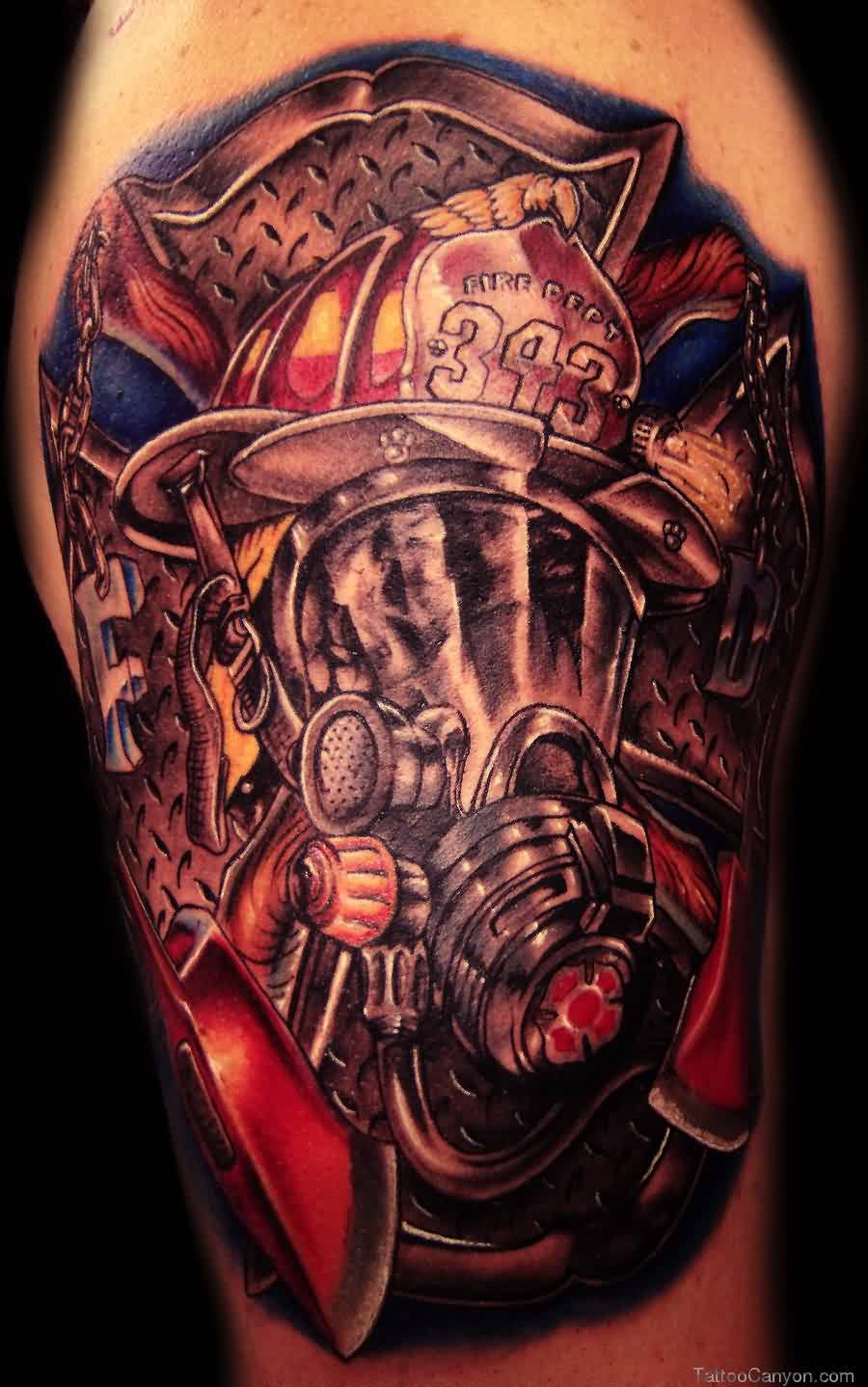 Great Firefighter Helmet Tattoo