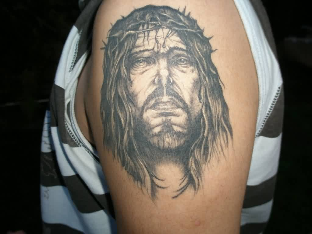 Great Jesus Portrait Tattoo On Arm