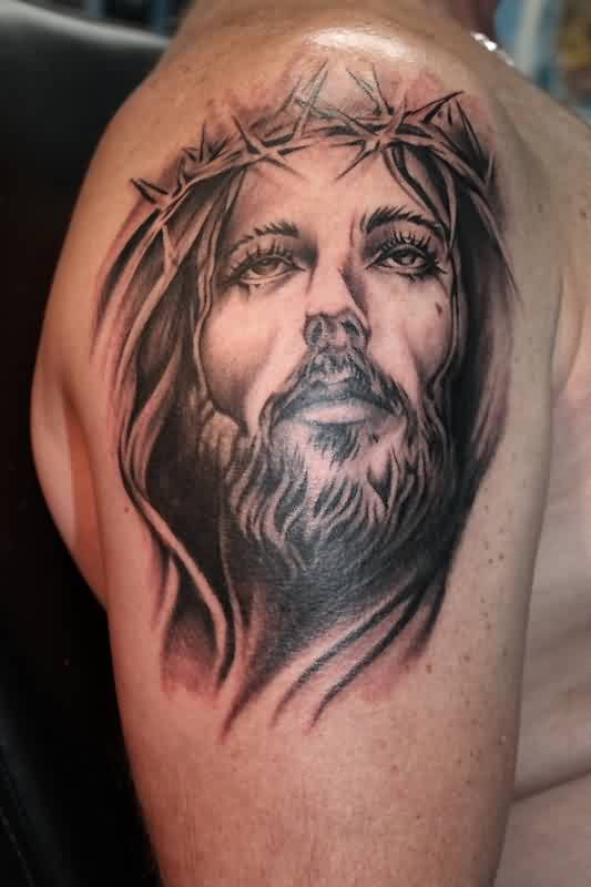 Great Jesus Portrait Tattoo On Shoulder