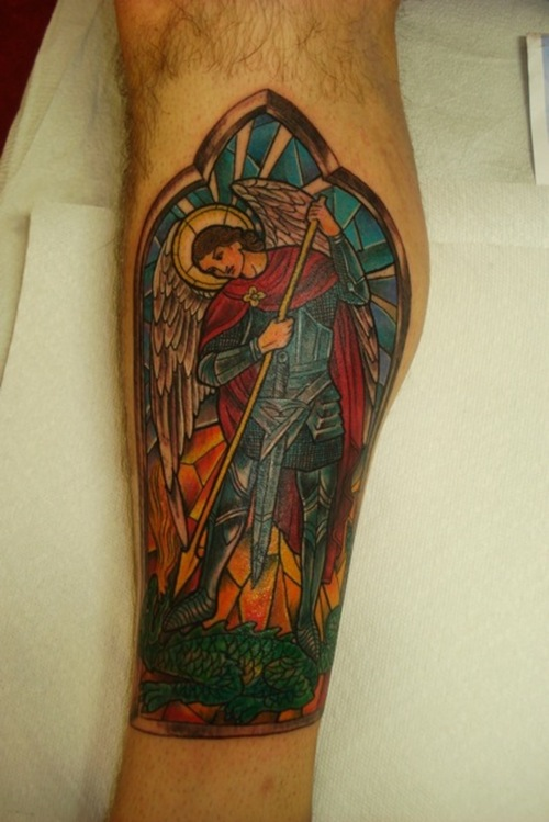 Great St Michael Stained Glass Tattoo For Men