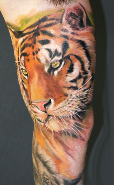 Great Tiger Tattoo On Arm