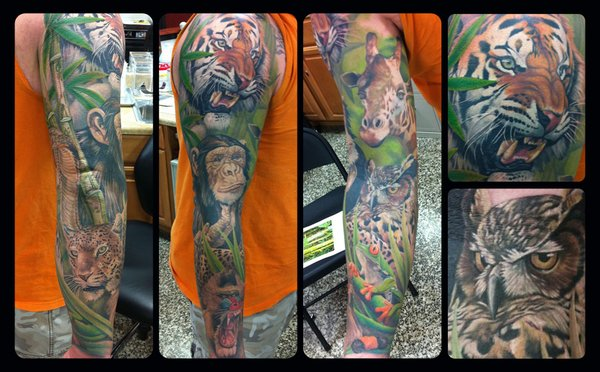Great Wild Animal Tattoos On Sleeve