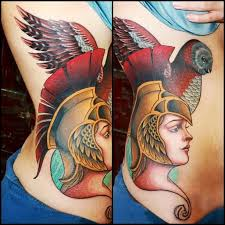 Greek Goddess Wearing Helmet Tattoo On Ribs