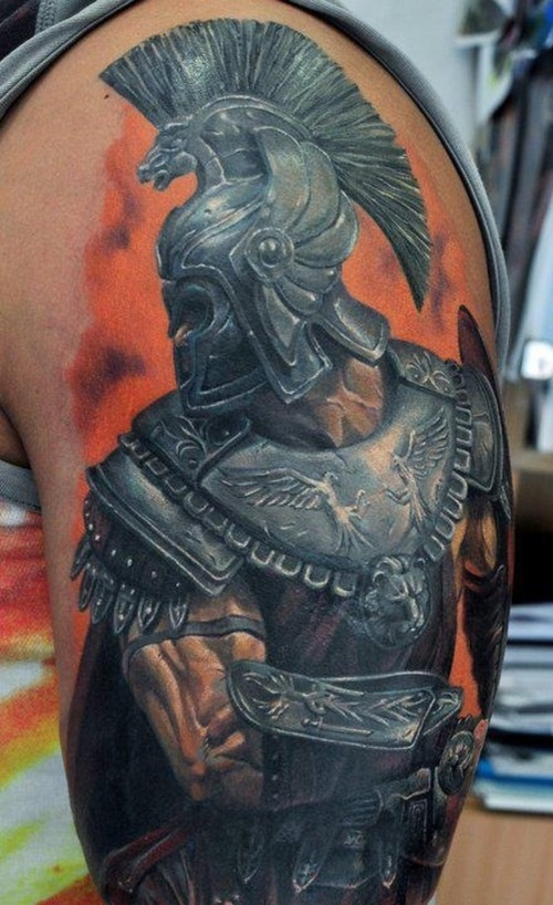 Greek Warrior With Helmet Portrait Tattoo On Sleeve
