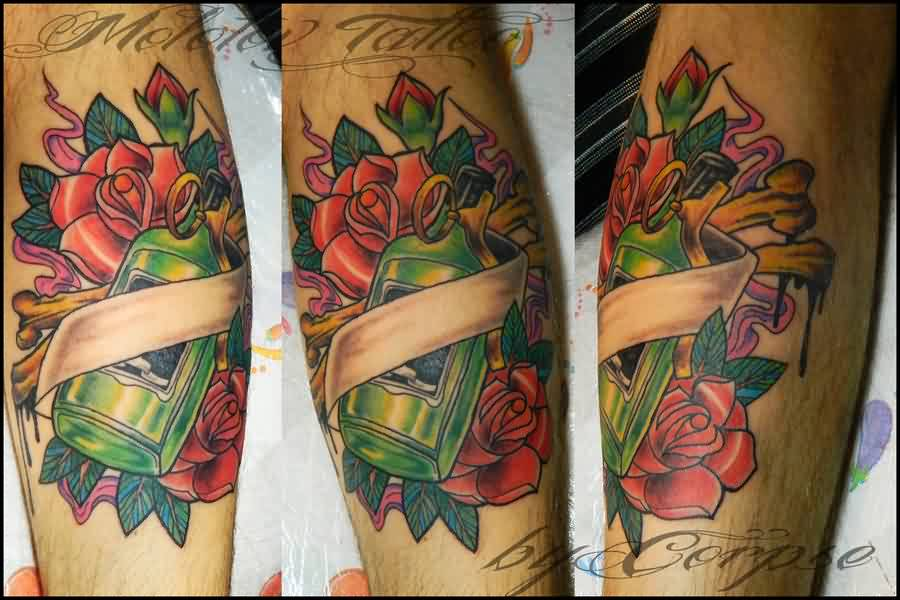 Green Bottle In Roses Tattoos
