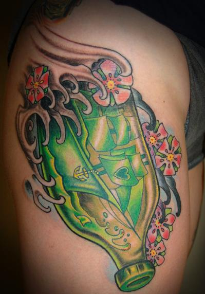 Green Bottle With Ship Tattoo