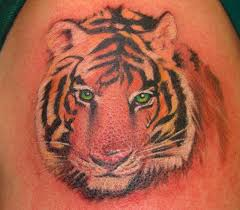 Green Eyed Tiger Face Tattoo