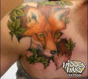 Green Leaves And Fox Tattoos For Women
