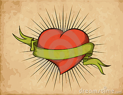 Green Ribbon And Red Heart Tattoo Print