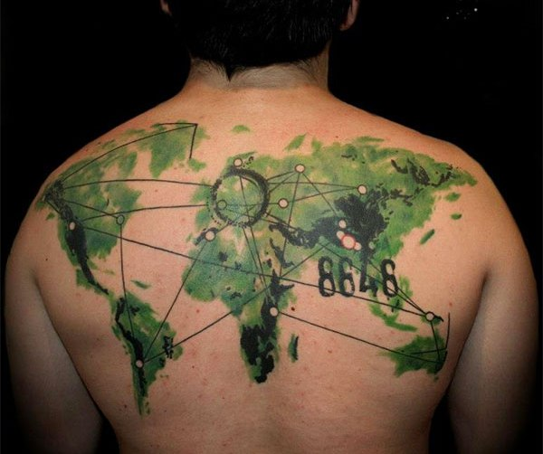 Green Watercolor Tattoo On Upperback