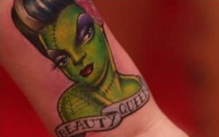Green Zombie Beauty Queen Tattoo On Wrist