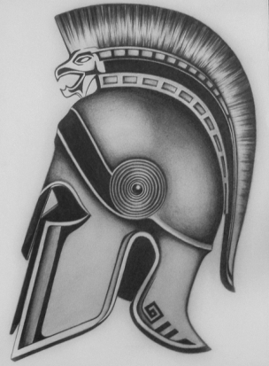 Grey Helmet With Hairs Tattoo Design