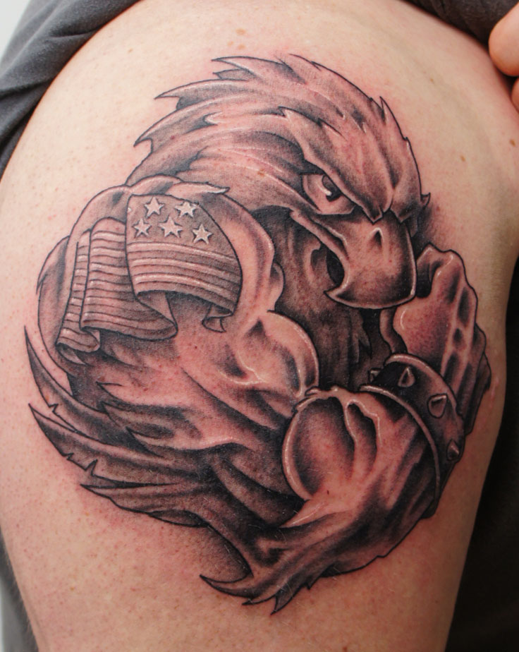 Grey Ink American Bald Eagle Tattoo On Shoulder