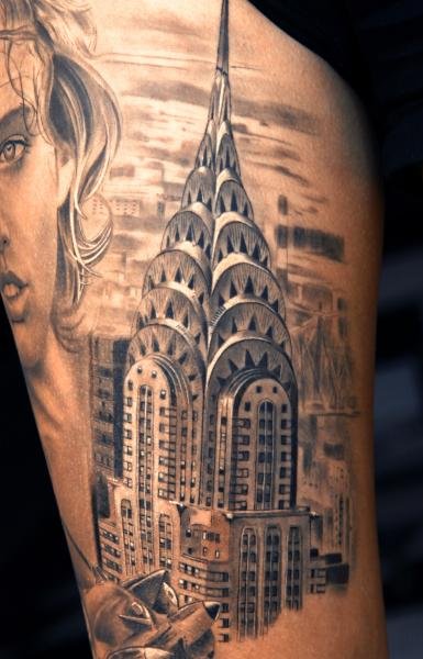 Grey Ink American Chrysler Building Tattoo
