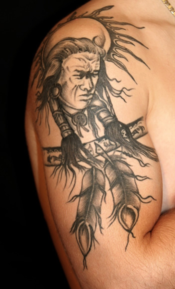 Grey Ink American Indian Tattoo On Shoulder