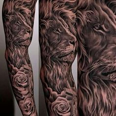 Grey Ink Animal And Rose Tattoos On Entire Sleeve