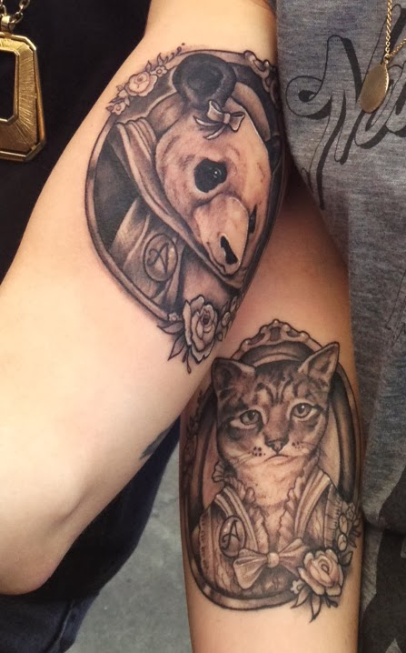 Grey Ink Animal Portrait Tattoos