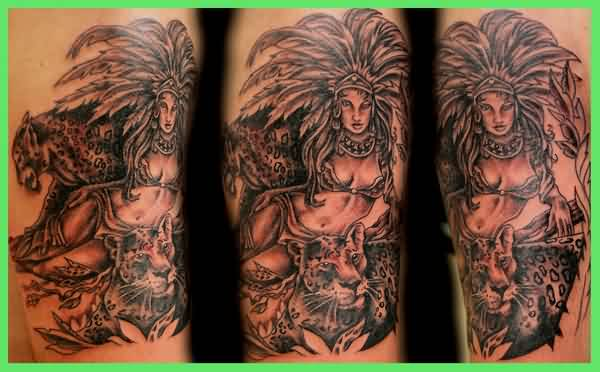 Grey Ink Aztec Queen And Animal Tattoo