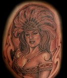 Grey Ink Aztec Queen Portrait Tattoo
