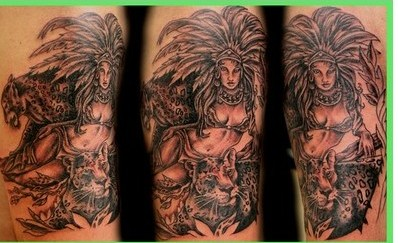 Grey Ink Aztec Queen Tattoos