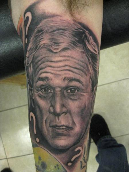 Grey Ink Bob Tyrrell Portrait Tattoo