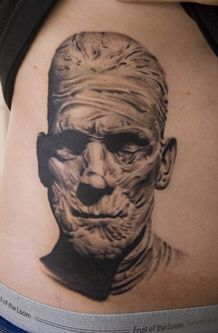 Grey Ink Boris Karloff Mummy Portrait Tattoo