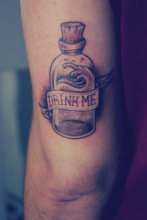 Grey Ink Bottle With Banner Tattoos