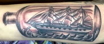 Grey Ink Bottle With Ship Tattoo