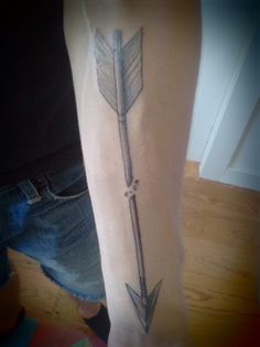 Grey Ink Broken Arrow Tattoo On Forearm